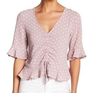 Elodie Elbow Length Ruffle Sleeve Cinched Blouse
